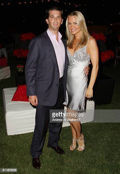Donald Trump Jr and wife Vanessa Trump attend the Drinks Dinner and Disco Party the night before the wedding of Ivana Trump and Rossano Rubicondi at...
