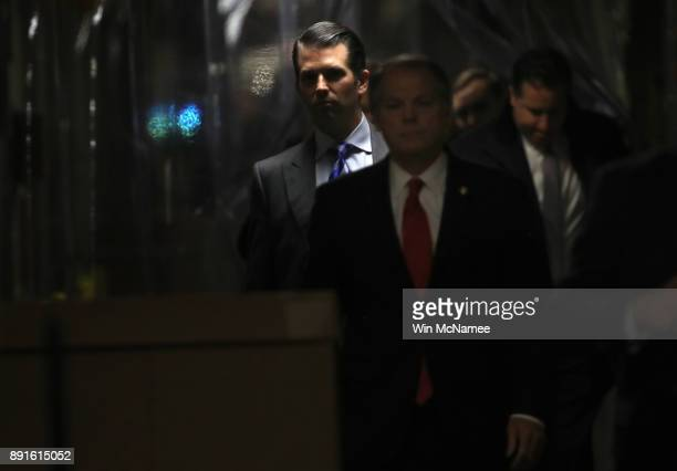 Donald Trump Jr arrives at the Senate Hart Office Building for a closed door meeting with Senate Intelligence Committee December 13 2017 on Capitol...