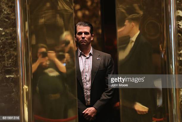Donald Trump Jr arrives at Trump Tower on January 18 2017 in New York City Presidentelect Donald Trump is to be sworn in as the 45th President of the...