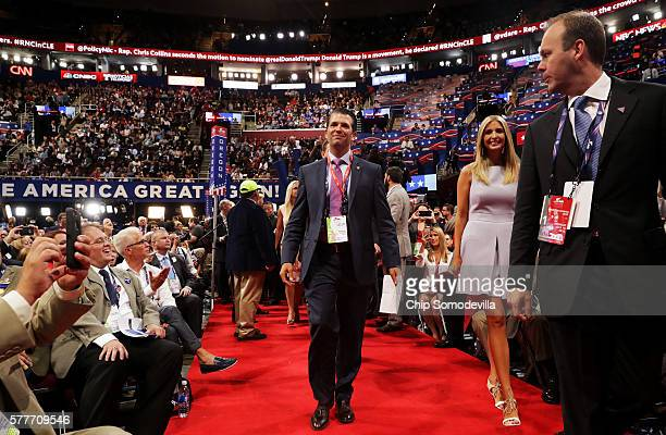 Donald Trump Jr arrives with Ivanka Trump during roll call on the second day of the Republican National Convention on July 19 2016 at the Quicken...