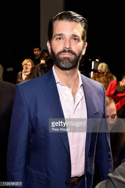Donald Trump Jr attends the Zang Toi front row during New York Fashion Week The Shows at Gallery II at Spring Studios on February 13 2019 in New York...