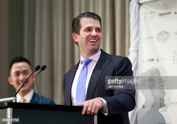 Donald Trump Jr delivers a speech during a ceremony for the official opening of the Trump International Tower and Hotel on February 28 2017 in...