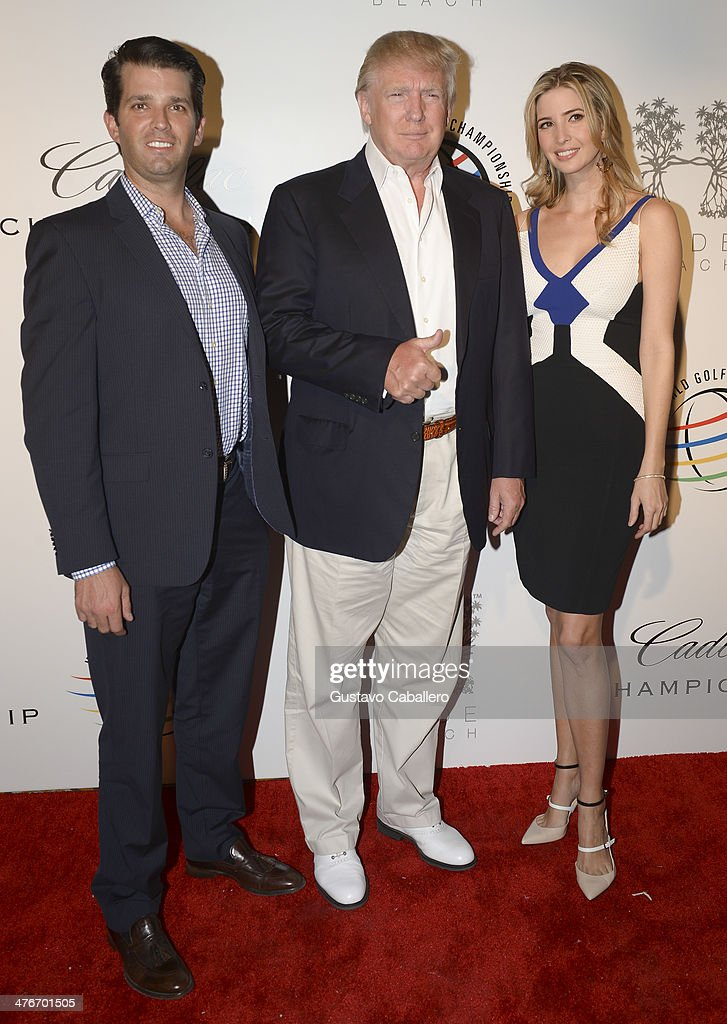 Donald Trump, Jr., Donald Trump, and Ivanka Trump attend The Opening Drive Party at Hyde Beach on March 4, 2014 in Miami, Florida.