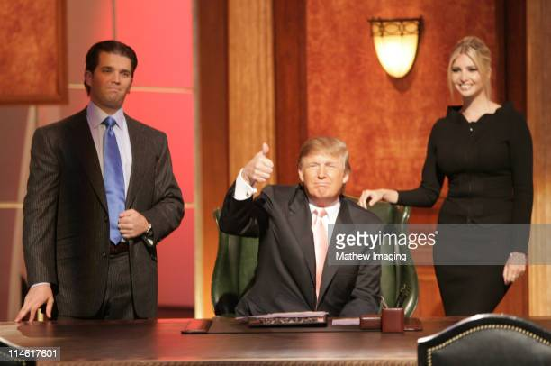 "Donald Trump Jr., Donald Trump and Ivanka Trump during ""The Apprentice"" Season 6 Finale at The Hollywood Bowl at Hollywood Bowl in Hollywood,..."