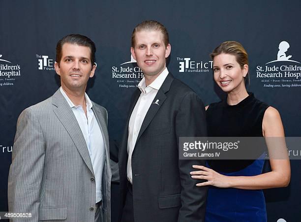 Donald Trump Jr Eric Trump and Ivanka Trump attend the 9th Annual Eric Trump Foundation Golf Invitational Auction Dinner at Trump National Golf Club...