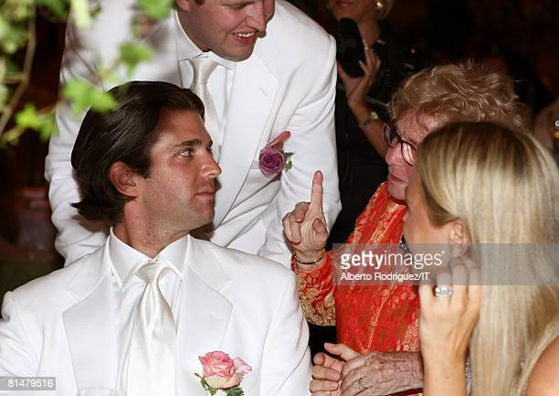 Donald Trump Jr Eric Trump Dr Ruth Westheimer and Vanessa Trump attend the wedding reception of Ivana Trump and Rossano Rubicondi at the MaraLago...