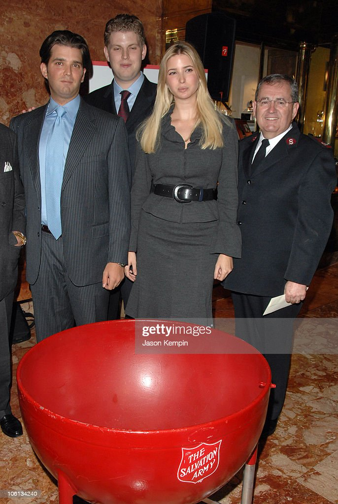 Donald Trump Jr., Eric Trump, Ivanka Trump and Major Guy D. Klemanski, General Secretary for The Salvation Army