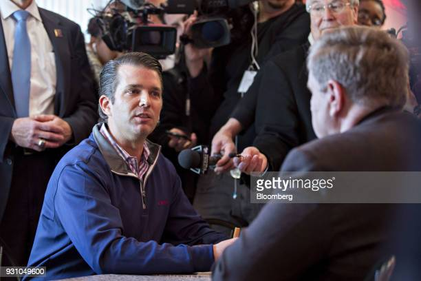 Donald Trump Jr executive vice president of development and acquisitions with the Trump Organization Inc left speaks to members of the media as Rick...