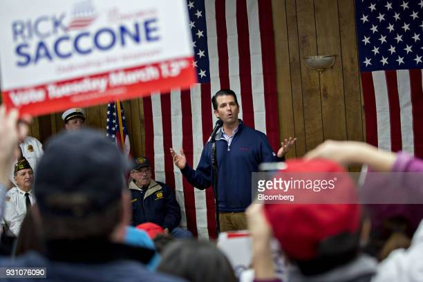 Donald Trump Jr executive vice president of development and acquisitions with the Trump Organization Inc speaks during a campaign event for Rick...