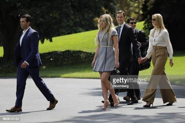Donald Trump Jr executive vice president of development and acquisitions with the Trump Organization Inc from left Tiffany Trump Jared Kushner senior...