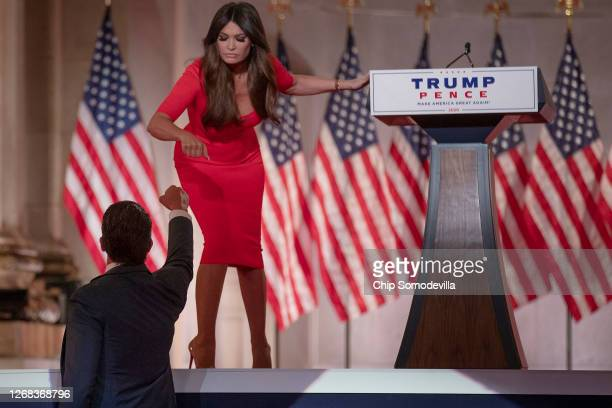 Donald Trump Jr. Fist bumps his girlfriend Kimberly Guilfoyle after they pre-recorded their addresses to the Republican National Convention at the...