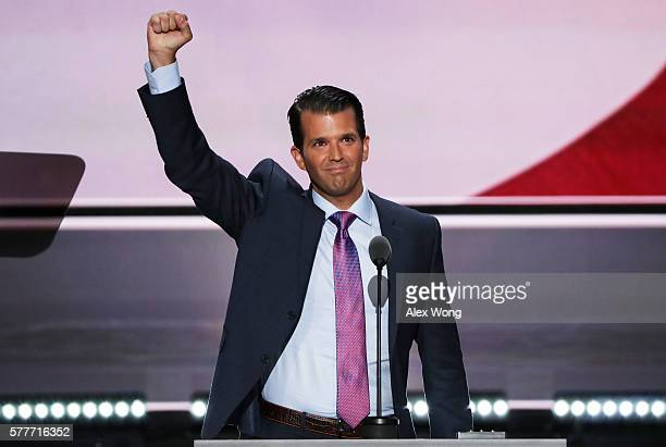 Donald Trump Jr gestures to the crowd after delivering a speech on the second day of the Republican National Convention on July 19 2016 at the...