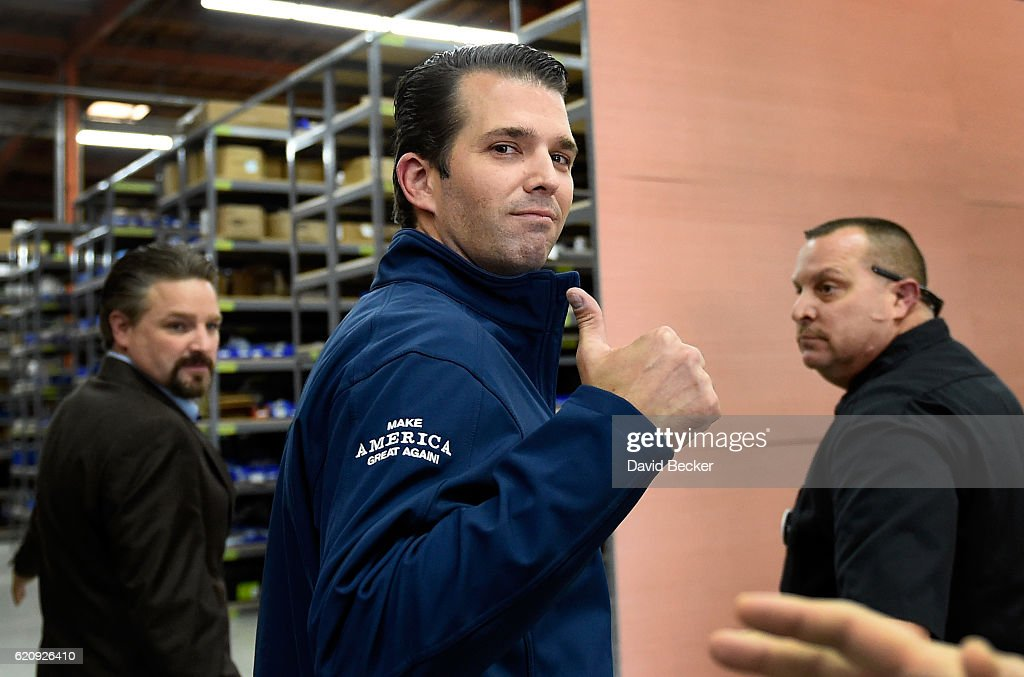Donald Trump Jr. gives a thumbs-up after a get-out-the-vote rally for his father, Republican presidential nominee Donald Trump, at Ahern Manufacturing on November 3, 2016 in Las Vegas, Nevada. Trump Jr. urged people to vote for his father during early voting, which ends on November 4 in the battleground state, and on Election Day November 8.