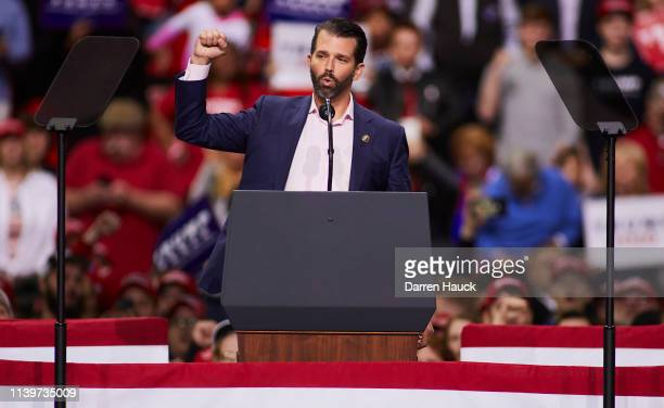 Donald Trump Jr greets supporters of US President Donald Trump before he speaks at a Make America Great Again rally on April 27 2019 in Green Bay...