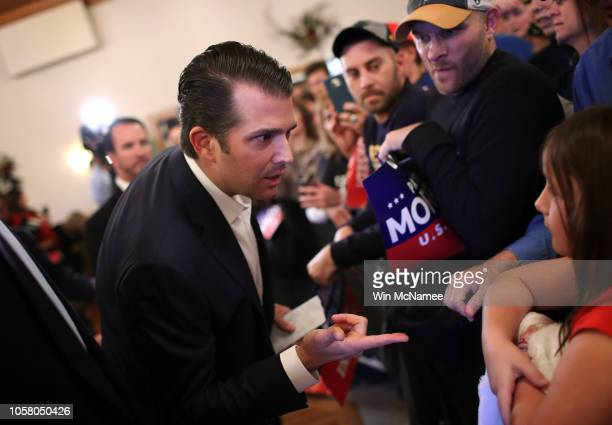Donald Trump Jr greets West Virginia voters after speaking at a campaign event for Republican US Senate candidate Patrick Morrisey October 22 2018 in...