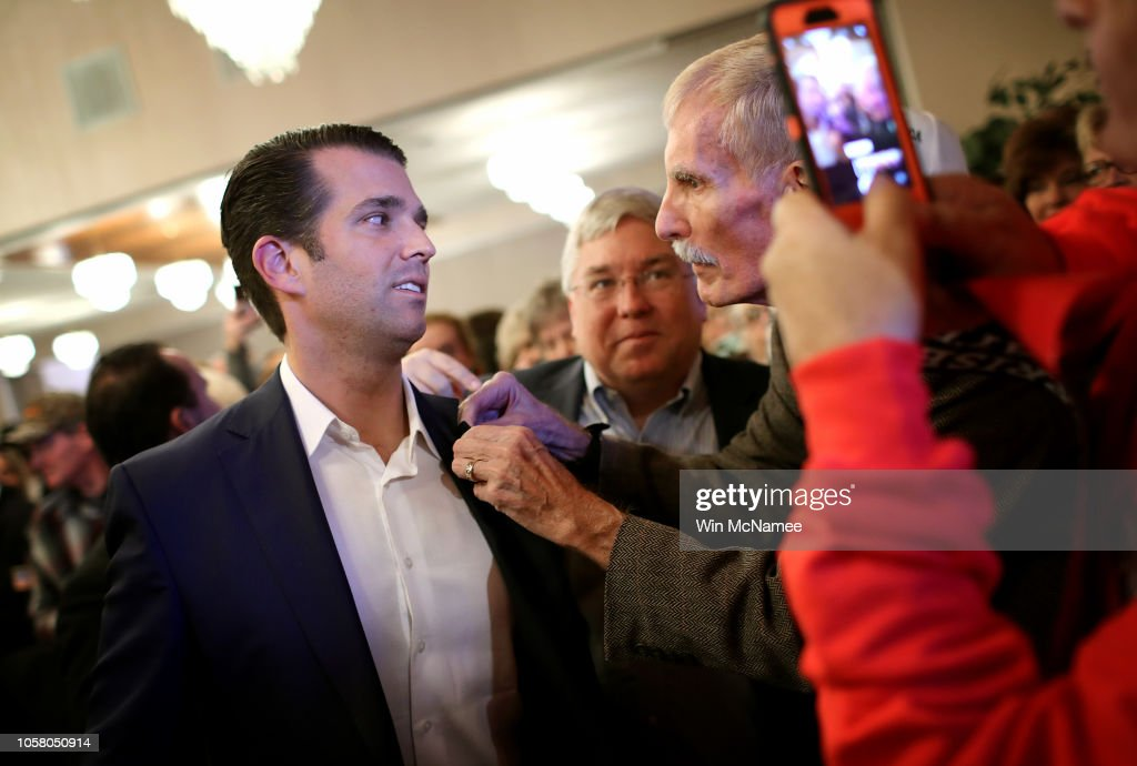 GOP Senate Candidate Patrick Morrisey Campaigns With Donald Trump Jr In WV : News Photo