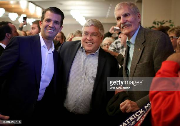 Donald Trump Jr greets West Virginia voters with Republican US Senate candidate Patrick Morrisey after Trump spoke at a campaign event for Morrisey...