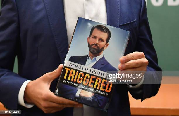 Donald Trump Jr holds his new Book Triggered How the Left Thrives on Hate and Wants to Silence Us at Barnes Noble on 5th Avenue on November 5 2019 in...