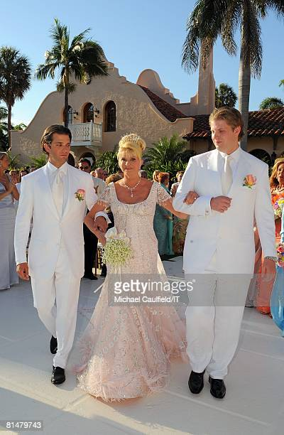 Donald Trump Jr Ivana Trump and Eric Trump during the wedding of Ivana Trump and Rossano Rubicondi at the MaraLago Club on April 12 2008 in Palm...