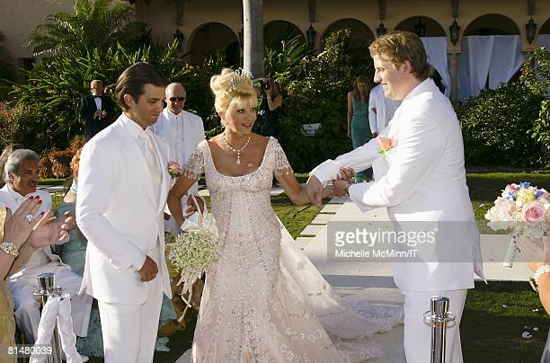 RATES Donald Trump Jr Ivana Trump and Eric Trump during the wedding of Ivana Trump and Rossano Rubicondi at the MaraLago Club on April 12 2008 in...