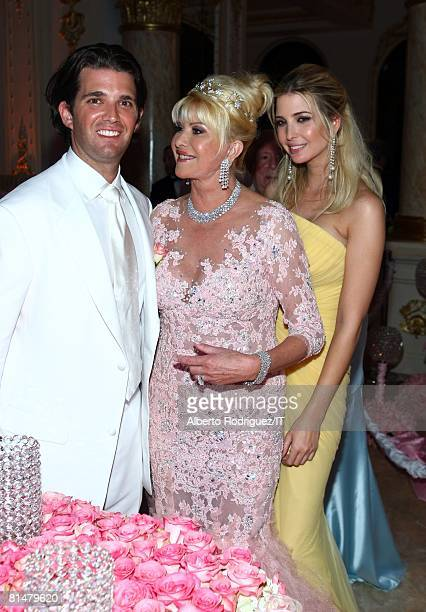 RATES Donald Trump Jr Ivana Trump and Ivanka Trump during the reception for the wedding of Ivana Trump and Rossano Rubicondi at the MaraLago Club on...