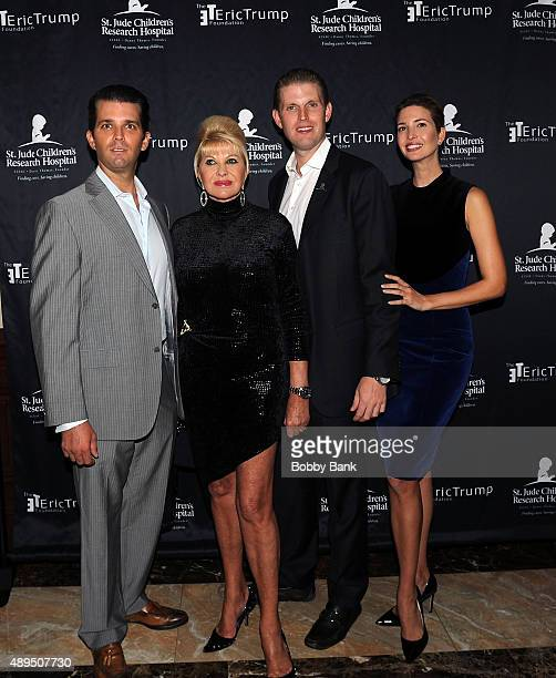 Donald Trump Jr Ivana Trump Eric Trump and Ivanka Trump attends the 9th Annual Eric Trump Foundation golf invitational at Trump National Golf Club...