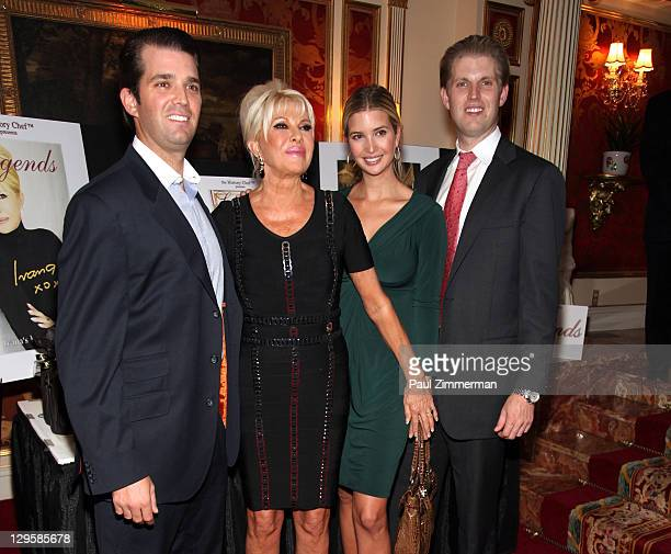 Donald Trump Jr Ivana Trump Ivanka Trump and Eric Trump attend the Ivana Living Legend Wine Collection launch at Ten East 64th Street on October 18...