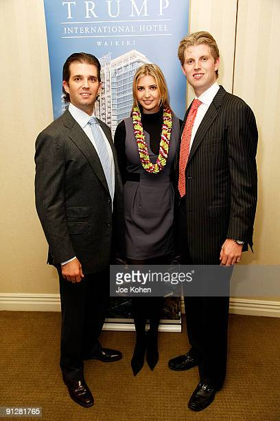 Donald Trump jr Ivanka Trump and Eric Trump attends a preview of the Trump International Hotel Waikiki Beach Walk at Trump International Hotel Tower...