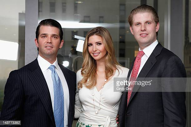 Donald Trump Jr Ivanka Trump and Eric Trump pose at Trump Tower on May 3 2012 in New York City