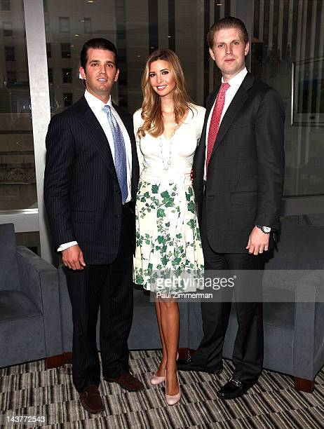 Donald Trump Jr Ivanka Trump and Eric Trump pose for pictures at Trump Tower on May 3 2012 in New York City