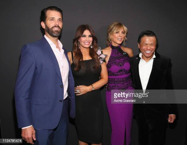 Donald Trump Jr Kimberly Guilfoyle Marla Maples and Zang Toi pose backstage for Zang Toi fashion show during New York Fashion Week The Shows at...