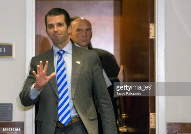 Donald Trump Jr leaves the Senate Intelligence Committee on December 13 2017 in Washington DC Donald Trump Jr is scheduled to be interviewed by the...