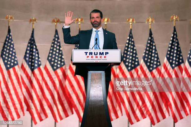 Donald Trump Jr. Pre-records his address to the Republican National Convention at the Mellon Auditorium on August 24, 2020 in Washington, DC. The...