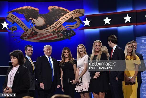 Donald Trump Jr., Republican nominee Donald Trump, Melania Trump, Ivanka Trump, Donald Trump Jr.'s wife Vanessa Trump, Eric Trumps wife Lara Yunaska,...