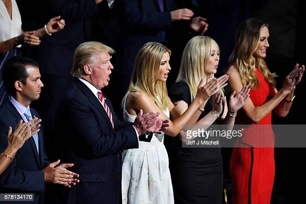 Donald Trump Jr Republican presidential candidate Donald Trump Ivanka Trump Tiffany Trump and Lara Yunaska stand and cheer for Eric Trump as he...