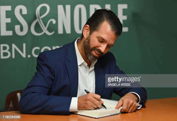 Donald Trump Jr signs his new Book Triggered How the Left Thrives on Hate and Wants to Silence Us at Barnes Noble on 5th Avenue on November 5 2019 in...