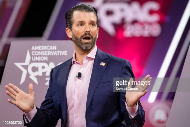 Donald Trump Jr son of President Donald Trump speaks on stage during the Conservative Political Action Conference 2020 hosted by the American...