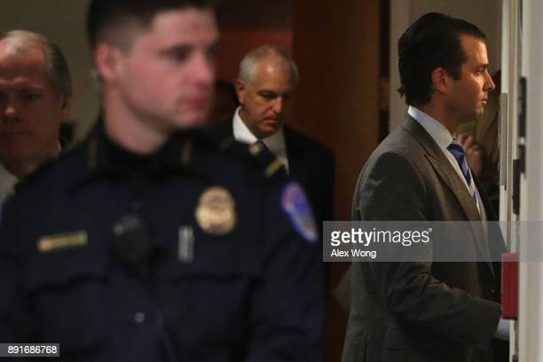 Donald Trump Jr son of US President Donald Trump takes a restroom break during a closed door meeting with Senate Intelligence Committee December 13...