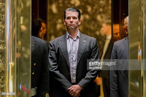 Donald Trump Jr son of US Presidentelect Donal Trump stands in an elevator at Trump Tower in New York US on Wednesday Jan 18 2017 Presidentelect...