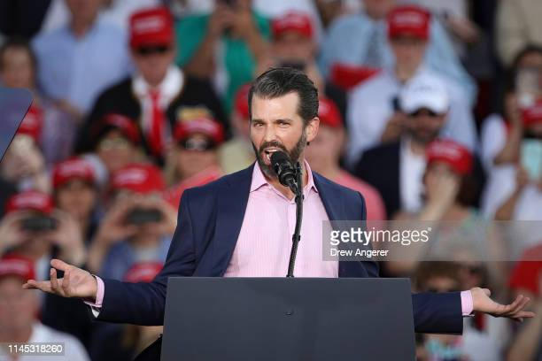 Donald Trump Jr speaks during a 'Make America Great Again' campaign rally at Williamsport Regional Airport May 20 2019 in Montoursville Pennsylvania...