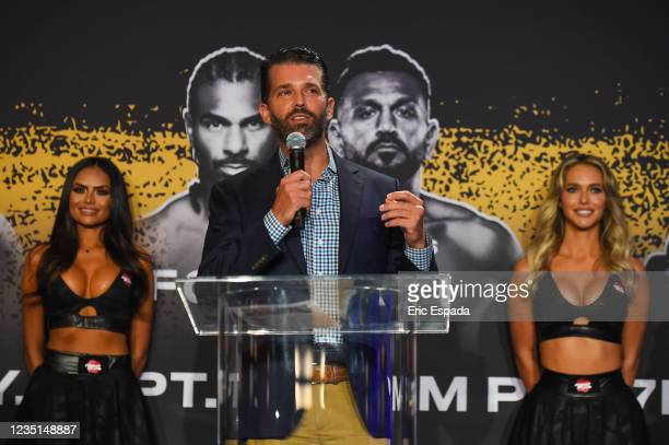 Donald Trump Jr. Speaks during a press conference ahead of the heavyweight fight between Evander Holyfield and Vitor Belfort on September 11 at The...