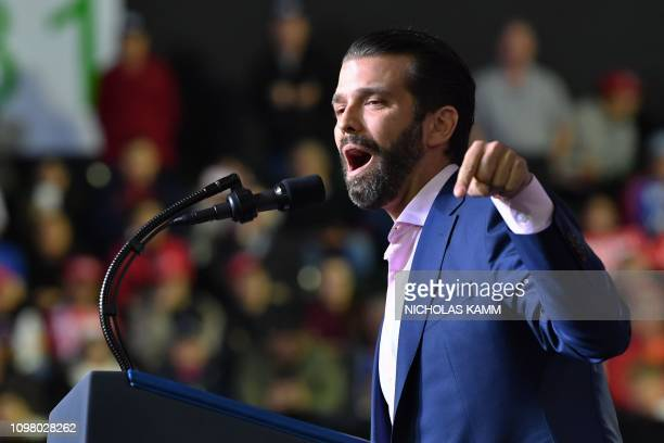Donald Trump Jr speaks during a rally before US President Donald Trump addresses the audience in El Paso Texas on February 11 2019
