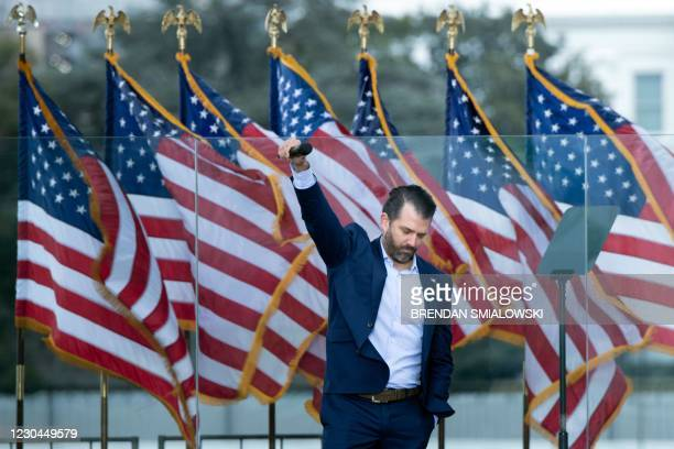 Donald Trump Jr. Speaks during a rally of supporters of US President Donald Trump on The Ellipse outside of the White House on January 6 in...