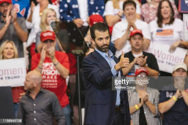 Donald Trump Jr speaks early in the night before his father US President Donald Trump at a campaign rally at US Bank Arena on August 1 2019 in...