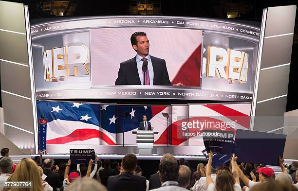Donald Trump Jr speaks on the second day of the Republican National Convention on July 19 2016 at the Quicken Loans Arena in Cleveland Ohio An...