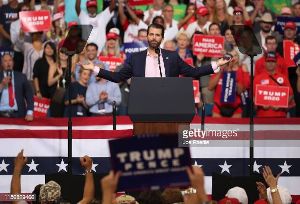 Donald Trump Jr speaks to the crowd before his father United States President Donald Trump arrives on stage to announce his candidacy for a second...