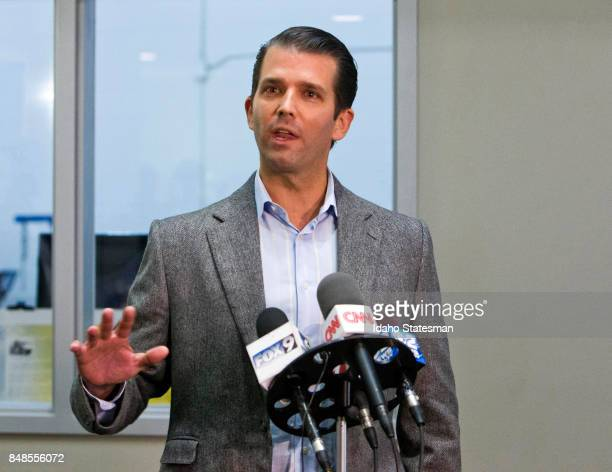 Donald Trump Jr stumps for his father during a brief campaign stop on Sept 22 in Boise Idaho