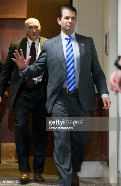 Donald Trump Jr takes a break durig the Senate Intelligence Committee on December 13 2017 in Washington DC Donald Trump Jr is scheduled to be...