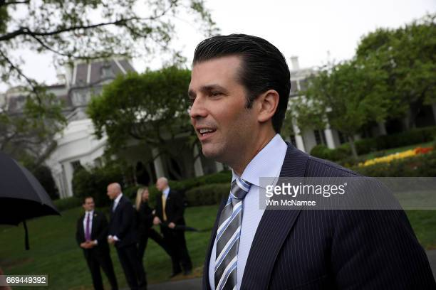 Donald Trump Jr talks with reporters during the 139th Easter Egg Roll on the South Lawn of the White House April 17 2017 in Washington DC The White...