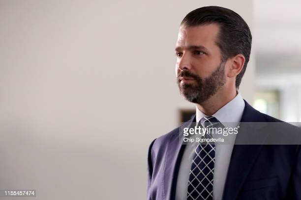 Donald Trump Jr the son of US President Donald Trump leaves following a second closeddoor interview with members of the Senate Intelligence Committee...